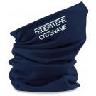 Feuerwehr Maske Mundschutz Halstuch mit Fleece im Halsbereich und Bestickung Feuerwehr und Ortsname